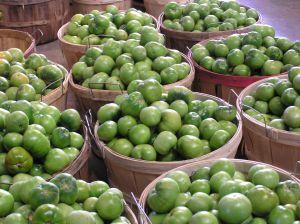 Apples in baskets at market