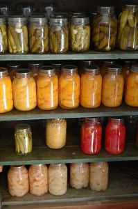 Pantry with home canned food